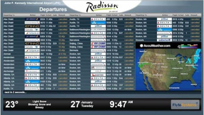 Screenshot of Radisson JFK Airport FlyteBoard Software