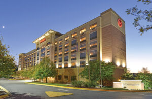 BWI Sheraton Airport Hotel Exterior Front Night View
