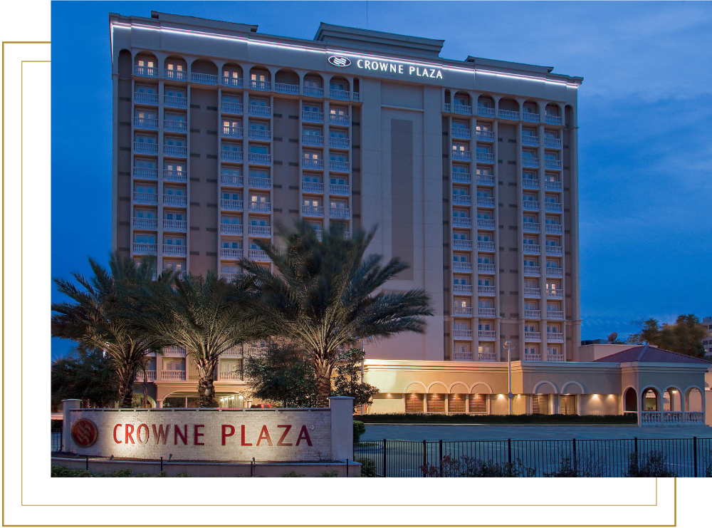 Crowne Plaza Orlando Downtown Front View of Building at Night