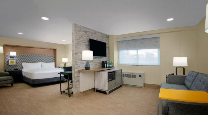 Interior photo of new guestroom (two-room suite) at Holiday Inn Binghamton Downtown