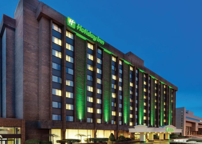 Holiday Inn Binghamton-Downtown Night View of Exterior Building with Lights
