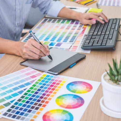 Vista Property Management - Brand Relations (Designer Going through Colour Swatches)